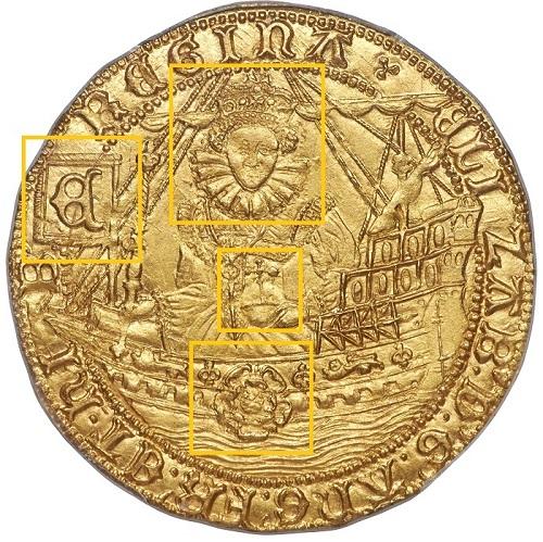 """Sul dritto della """"moneta ammiraglia della flotta numismatica"""" di Elisabetta I un ritratto frontale della regina e un'imponente nave da battaglia adorna dei suoi simboli"""
