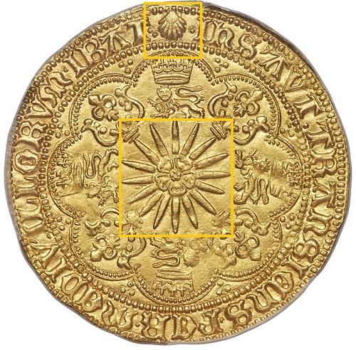 """La rosa Tudor raggiante, leoni e fiordalisi, corone euna misteriosa conchiglia: questi alcuni dei simboli sul rovescio dello """"Ship Ryal"""" proposto da Heritage"""