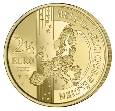 """Il dritto della commemorativa del Belgio è opera di Luc Luyxc, ingegnre """"prestato alla numismatica"""" fin dai tempi del concorso per le facce comuni degli euro spiccioli"""