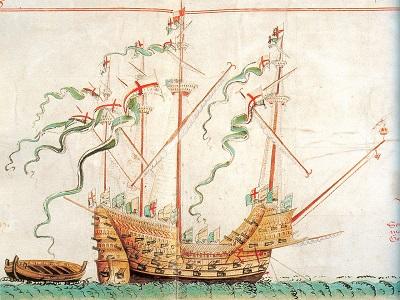 """La caracca """"Henry grace à Dieu"""", ammiraglia di Enrico VIII varata nel 1514 e simile alla nave incisa sulla moneta di Elisabetta"""