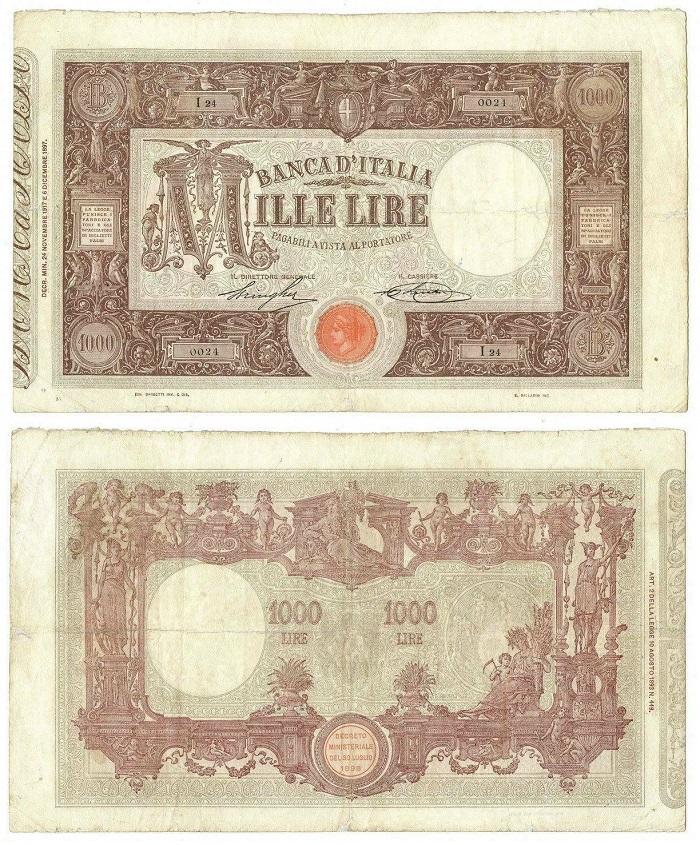 """La """"millelire"""" per antonomasia, quella tipo """"Grande M"""" ideata da Rinaldo Barbetti e che, emessa per la prima volta con matrice nel 1897, circolò nelle tasche degli italiani fino al secondo dopoguerra"""