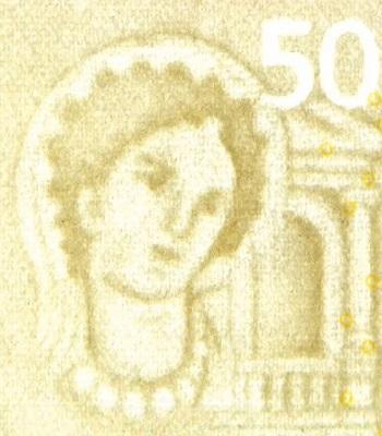 La ninfa Europa sulla filigrana delle euro banconote seconda serie: un soggetto classico per la più antica tra le dotazioni di sicurezza del denaro cartaceo