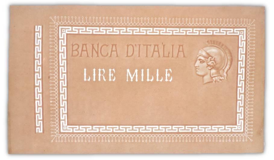 La filigrana ideata per le 1000 lire Barbetti matrice e non approvata: a nome della Banca d'Italia, reca fregi, il valore in lettere e una testina elmata di Roma di profilo, con fregi di greche e palmette