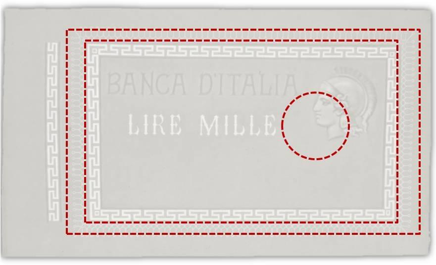 Le linee tratteggiate mostrano la sovrapposizione tra il foglio filigranato e gli elementi base del biglietto Barbetti: l'ellisse della filigrana, la vignetta stampata, i margini esterni (matrice esclusa)