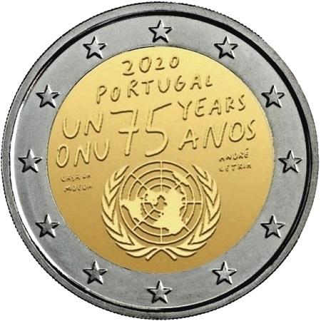 Ed ecco il bozzetto della 2 euro portoghere del 2020, per i 75 anni dell'ONU... ma quando sarà sul mercato?