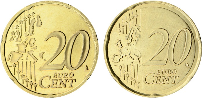 """Fotografato con l'ausilio di uno specchio, ecco il 20 euro centesimi """"mirror"""" con doppia faccia comune"""