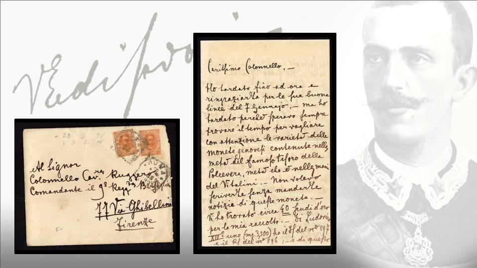 La lettera del principe Vittorio Emanuele al colonnello Ruggero: fronte della busta e prima facciata