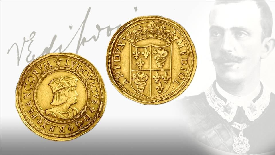 Per comprendere la vastità della collezione Marignoli, si pensi che fra le innumerevoli rarità vi era anche uno dei soli cinque pezzi noti di questa prova in oro da 10 ducati per Milano di Luigi XII di FRancia