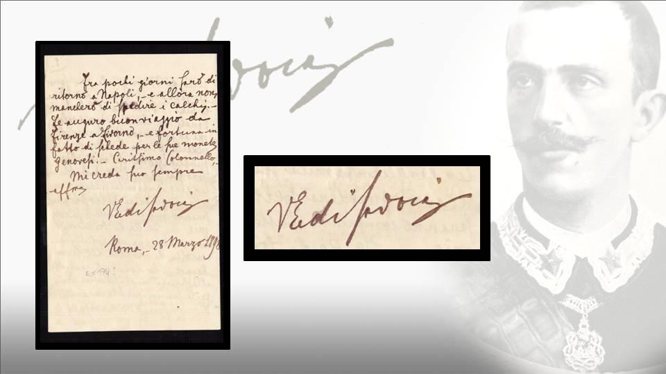 La lettera del principe Vittorio Emanuele al colonnello Ruggero: ultima facciata con autografo