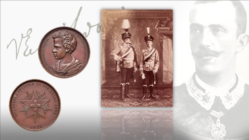 Una passione, quella del principe per le monete, nata da bambino: qui lo vediamo a dieci anni su una medaglia omaggio della città di Fermo e in alta uniforme, poco più avanti negli anni, col padre Umberto I