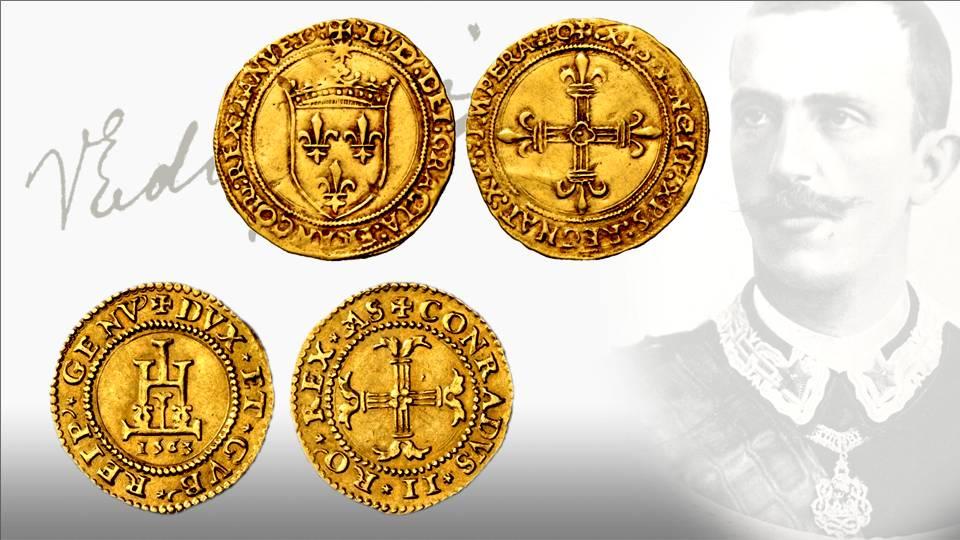 Due scudi d'oro genovesi, uno a nome di Luigi XII re di Francia risalente al 1507 e l'altro a nome dei dogi biennali millesimato 1536: monete come queste facevano parte del ricchissimo tesoro di Valpolcevera