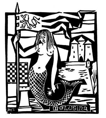 Un'incisione che raffigura Melusina, mitologica sirena lussemburghese che stregò il fondatore col suo canto e la sua bellezza
