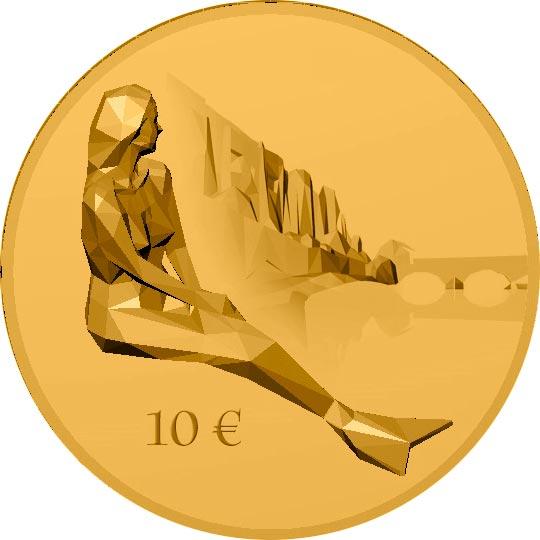 La statua di Melusina sulla riva dell'Alzette sulla nuova moneta da 10 euro del Lussemburgo in uscita a maggio
