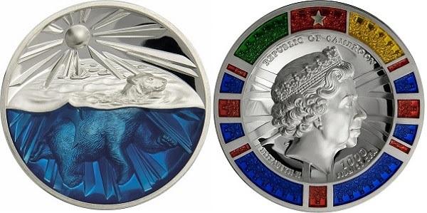 Prevalgono rilievi e colori in queste 4 once d'argento, valore facciale 1000 franchi CFA, che il Camerun ha affidato ad ArtMint facendo coniare la moneta in solo trecento esemplari
