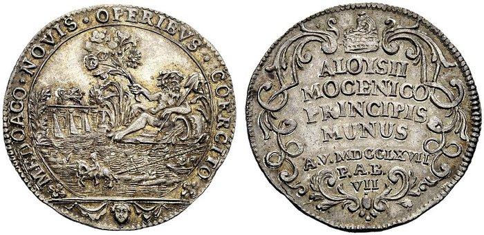 Un'osella sul Brenta, quella del 1767 coniata per celebrare le opere di sistemazione del fiume, arteria vitale per l'entroterra veneto dominato dalla Serenissima