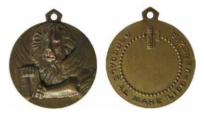 Medaglietta portativa in bronzo del 1934 coniata per l'Ospedale al Mare (ex Ospizio Marino) del Lido di Venezia