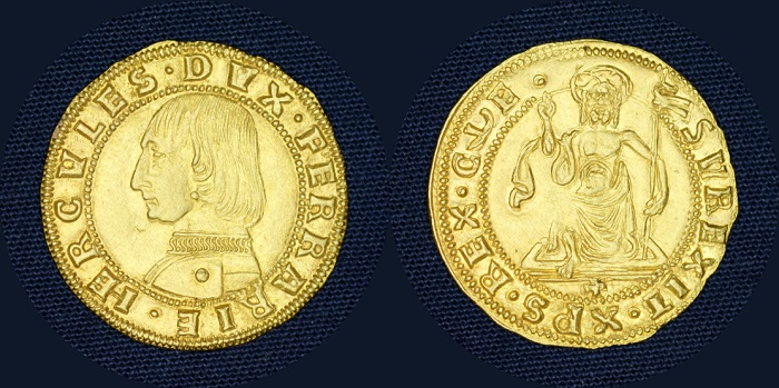 Tesori dal Monetiere di Palazzo Blu: ducato, Ferrara, Ercole d'Este, 1452-1505 (oro mm 21 g 3,45)