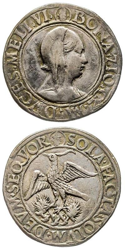"""Il testone """"alla Fenice"""" di Bona di Savoia proposto in asta online 19 da Gadoury (lotto n. 26): molto raro e di gran fascino, si merita una stima di partenza di 3500 euro"""
