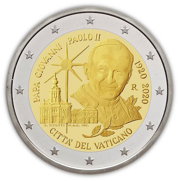Ecco la 2 euro che il Vaticano emetterà il prossimo 23 giugno per celebrare un secolo dalla nascitò di Karol Wojtyla, il papa polacco divenuto santo e che ha cambiato il mondo e la Chiesa