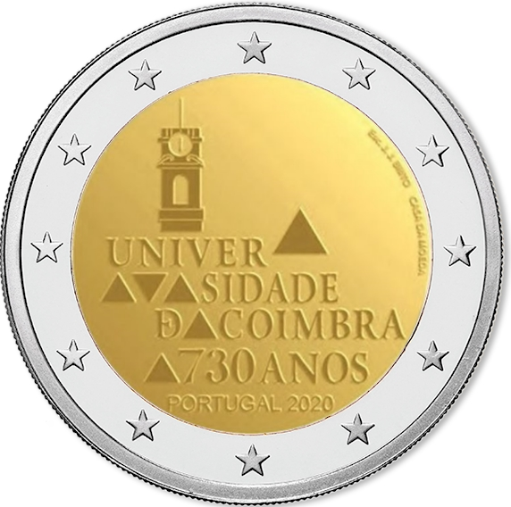 Il bozzetto dei 2 euro che saranno dedicati, entro novembre, ai 730 anni dell'Università di Coimbra, in Portogallo