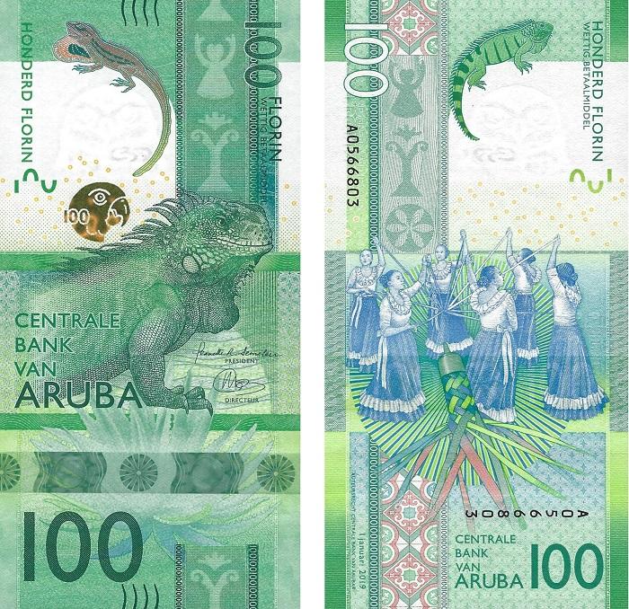 La banconota dell'anno è questa 100 fiorini emessa da Aruba e tutta incentrata sulla natura e il folclore del paese: nel concorso indetto da IBNS ha sbaragliato tutti i concorrenti