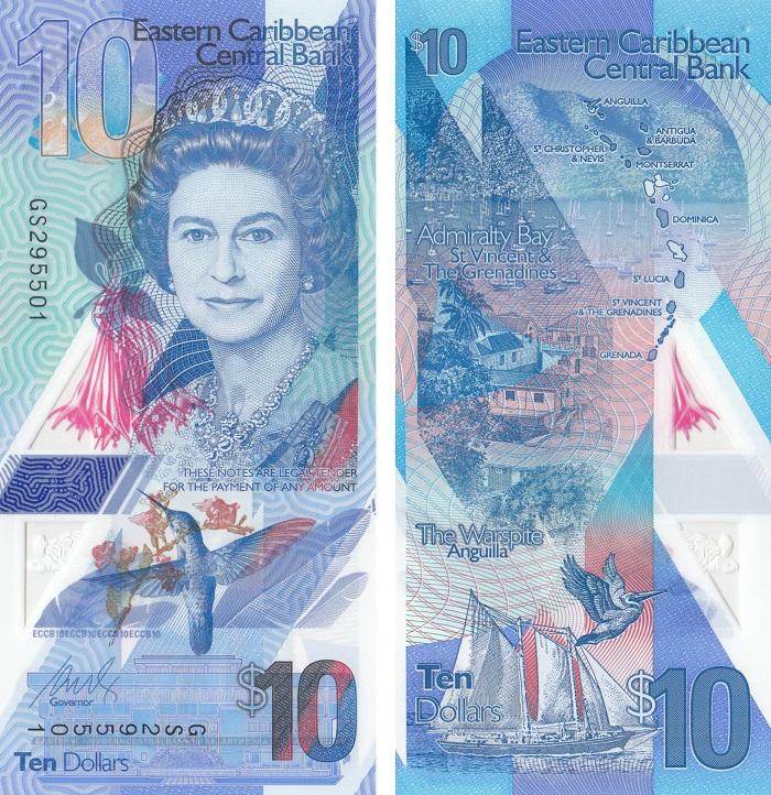 """Molto bella la seconda classificata nel """"contest"""" per la banconota dell'anno, questa 10 dollari degli Eastern Caribbean States su cui figura un'Elisabetta II ancora giovanile"""