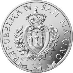 il dritto delle monete in argento di San Marino porta lo stemma ufficiale della più antica repubblica del mondo