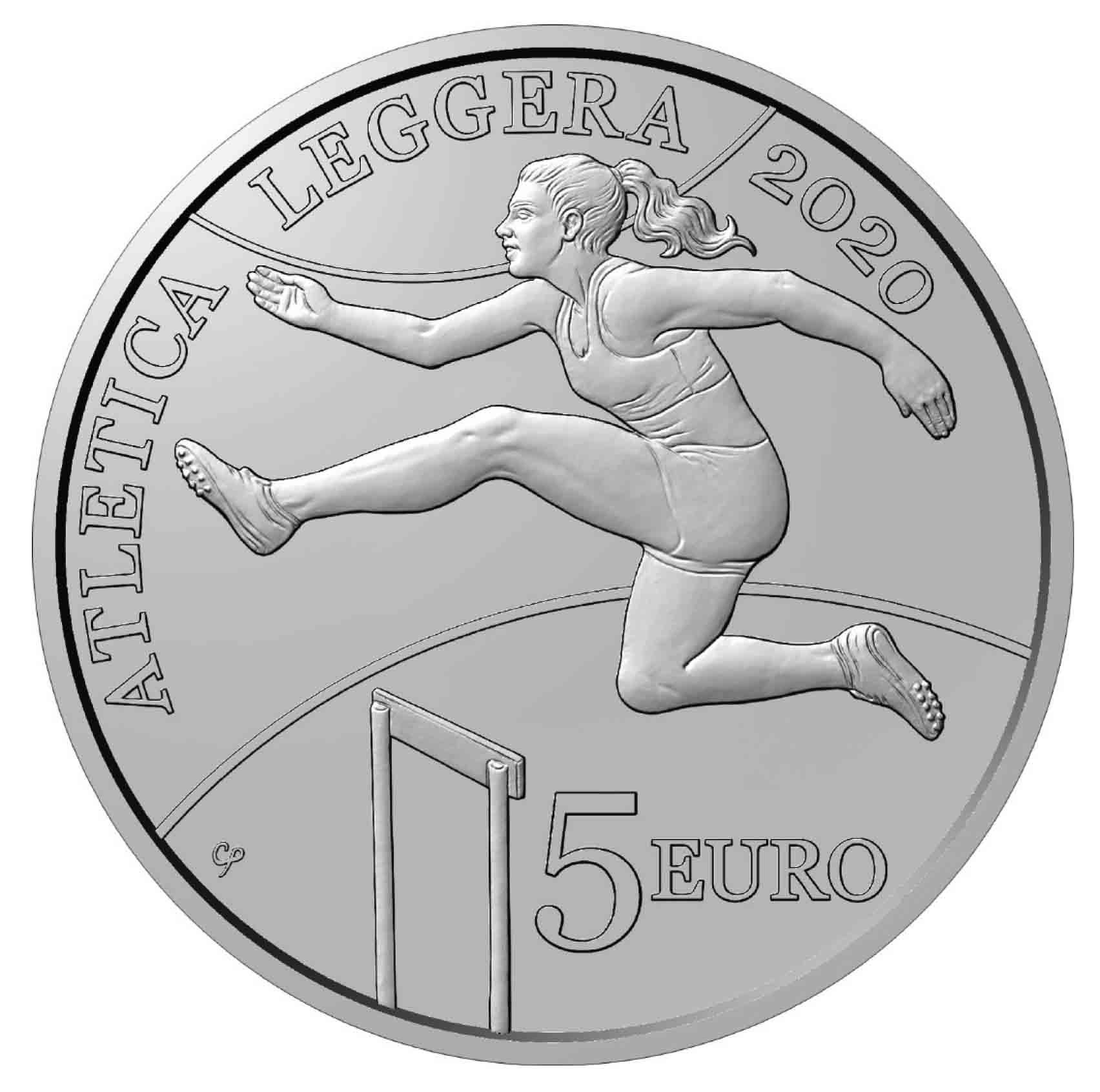 i 5 euro dedicati all'atletica leggera da San Marino sono opera di Chiara Principe e il salto dell'ostacolo appare, oggi più che mai, metafora dell'esistenza