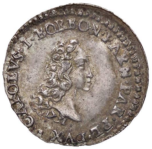 Un giovanile Carlo di Borbone sul carlino parmense in argento del 1731, unica moneta a suo nome come duca