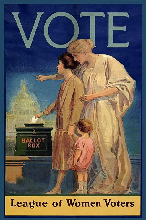 Questo bel manifesto per il voto alle donne testimonia la lunga e non semplice battaglia condotta negli USA per la parità dei diritti politici, culminata nel Diciannovesimo emendamento approvato un secolo fa