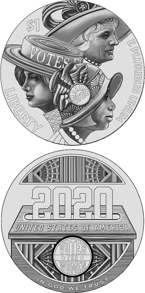 Una matura signora, una giovane e una ragazza di colore a simboleggiare insieme, sul bel dollaro in argento di prossima emissione negli Stati Uniti, ogni classe sociale venne coinvolta nel movimento suffragista