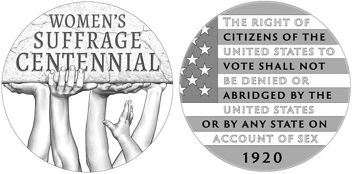 I bozzetti della medaglia che completerà la celebrazione numismatica del secolo di voto alle donne negli USA