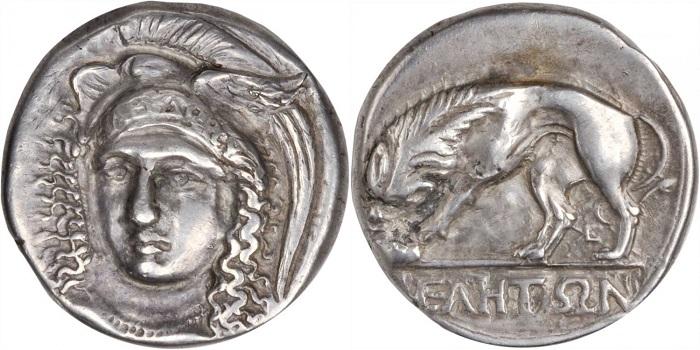 Lucania. Elea/Velia. Didracma (Ag, g 7,29), ca. 340-300 a.C. SNG ANS-1331. D/ Testa elamata di Atena rivolta leggermente a sinistra; R/ Leone in piedi a sinistra che divora la preda