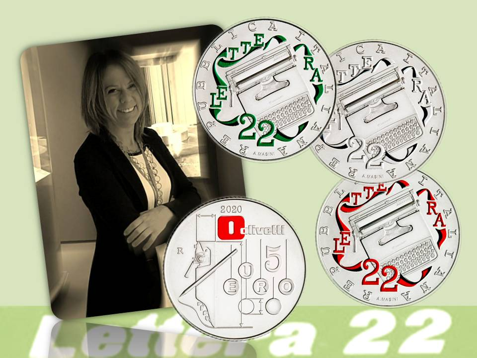 """Annalisa Masini è l'autrice della moneta, coniata in tre versioni in argento con colorazioni diverse, che l'Italia ha dedicato quest'anno alla """"Lettera22"""" come eccellenza del design e del genio italiani"""
