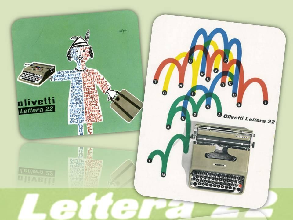 """Rivoluzionaria anche nella comunicazione pubblicitaria, la ditta Olivetti promosse la sua """"Lettera22"""" con campagne create da grafici illustri e che entrarono nella storia del marketing"""
