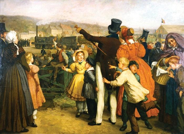 Un bel dipinto che ricorda il primo collegamento ferroviario - era il 1835  - tra la capitale belga e la città dio Malines: fu anche l'inaugurazione della prima ferrovia continentale europea
