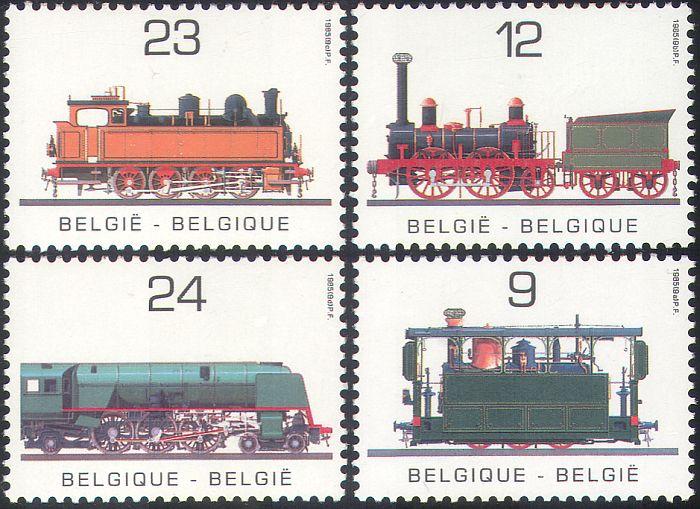 """I quattro francobolli che Bruxelles ha dedicato nel 1985 al 150° delle ferrovie: sul valore da 12 franchi è raffigurata """"The Elephant"""", la stessa locomotiva oggi in moneta"""