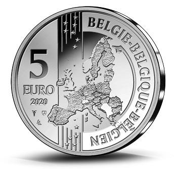 Il dritto dei 5 euro belgi, comune a tutte le commemorative del paese e disegnato da Luc Luycx