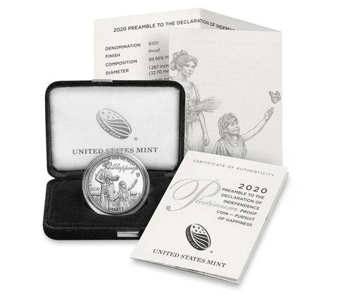 L'oncia in platino da 100 dollari 2020 è confezionata, come di consueto, in capsula e in un elegante astuccio in velluto