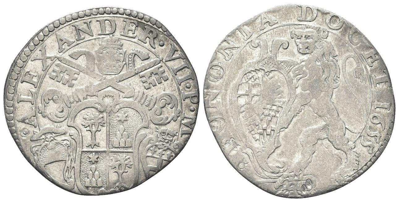 Lira bolognese in argento del primo periodo di pontificato di Alessandro VII Chigi; porta la data 1655