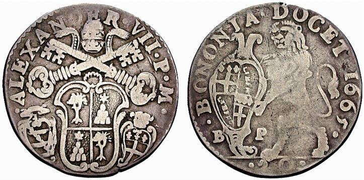Lira coniata a Bologna nel 1665: fui proprio questo tipo di moneta ad esser preso di mira dai falsari
