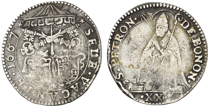 San Petronio in preghiera sul rovescio della lira bolognese coniata durante la Sede Vacante del 1667