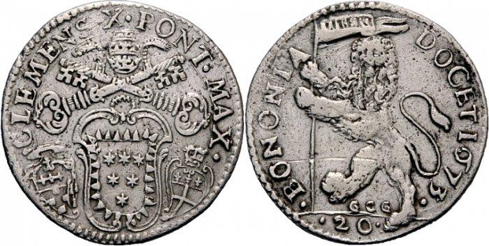 Nuova lira bolognese del 1673, a nome di papa Clemente X Altieri, con al rovescio il eone vessillifero