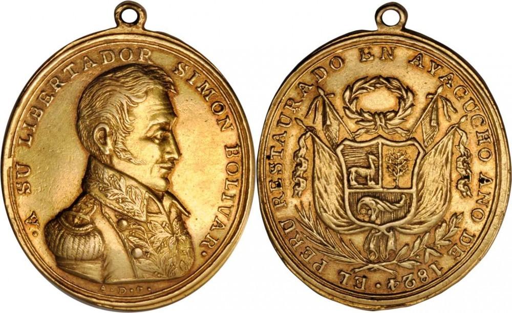 """Portativa, quasi """"devozionale"""" questa rara medaglia in oro peruviana dedicata a Simon Bolivar e al suo contributo all'indipendenza del paese sudamericano"""