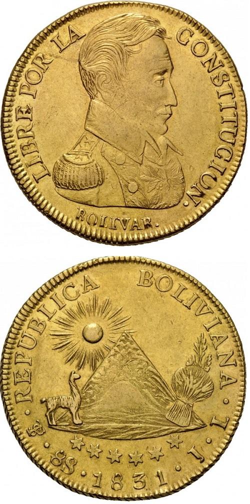 La più bella moneta dedicata a Simon Bolivar, gli 8 escudos boliviani in oro, su cui campeggia un bel ritratto dell'uomo politivo e rivoluzionario sudamericano