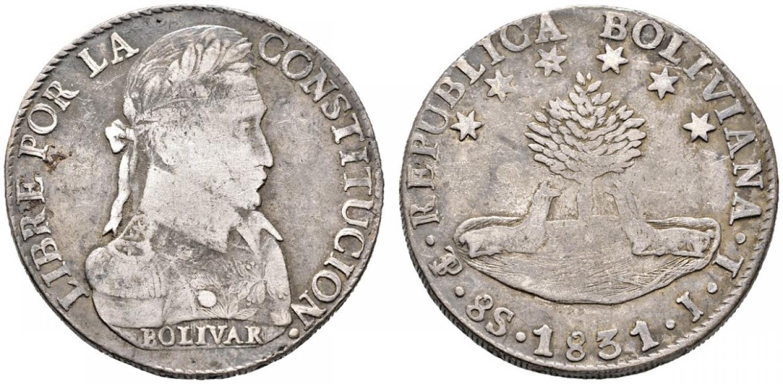 Un esemlare del 1831 di 8 sols in argento della Bolivia con Bolivar laureato sul dritto