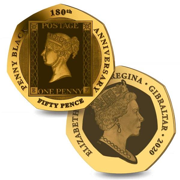 Due storiche regine, Vittoria ed Elisabetta II, sulle monete per i 180 anni del primo francobollo coniate per conto di Gibilterra