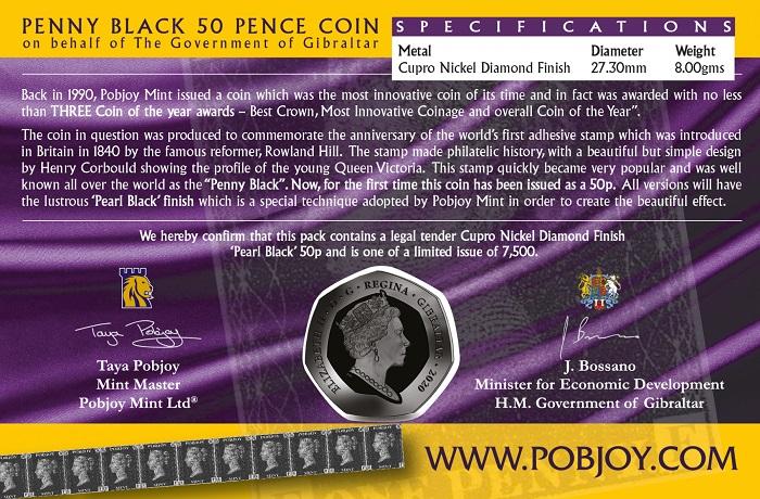 """Il folder in cui Pobjoy Mint ha confezionato la 50 pence in cupronichel (mm 27,30 per g 8,00) dedicata al """"Penny Black"""""""