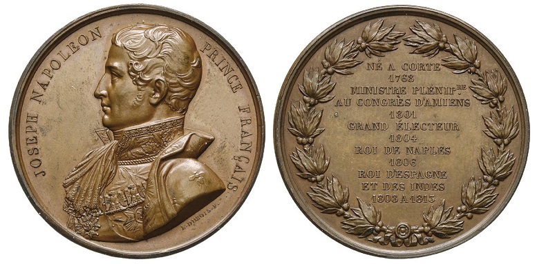 Medaglia omaggio a Giuseppe Napoleone (1768-1844) coniata nel 1813 a Parigi e incisa da Dubois & Denon (bronzo, mm 50,8 per g 59,3)
