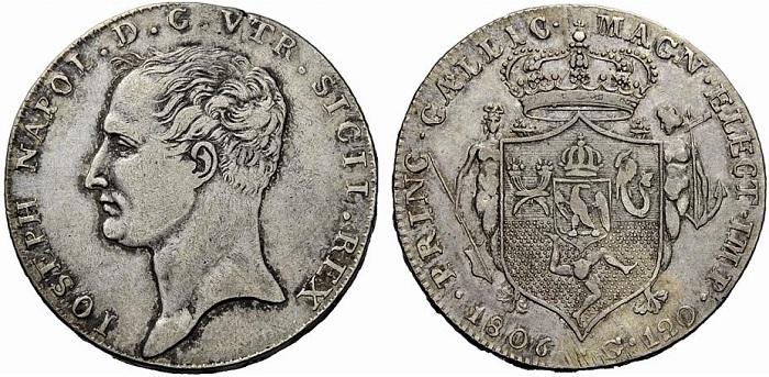 Rarissimo esemplare di 120 grana per Napoli 1806 a nome di Giuseppe Napoleone (Ag, mm 38 per g 27,5)